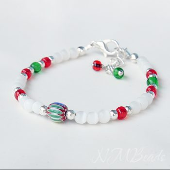 Girls Beaded Colorful Bracelet With White Red Green Glass Beads Sterling Silver