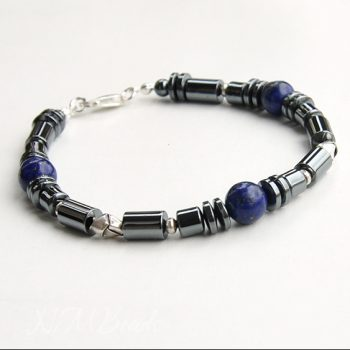 Mens Beaded Bracelet With Hematite Lapis Lazuli Sterling Silver Thai Silver