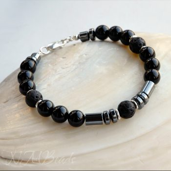 Beaded Mens Bracelet Black Onyx Hematite Lava Rock Sterling Silver