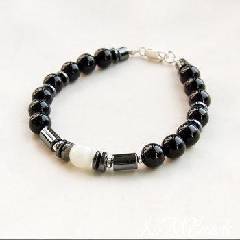 Mens Beaded Bracelet Black Onyx Hematite Moonstone Sterling Silver