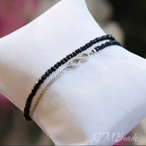 Delicate Pave Infinity Bracelet Black Spinel Double Wrap Sterling Silver