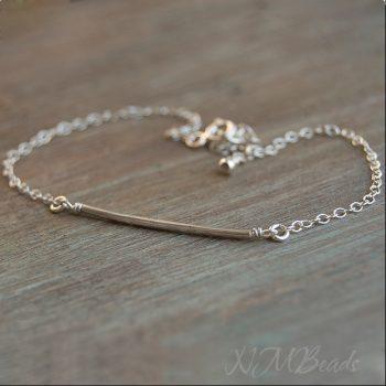 Delicate Tube Bracelet Sterling Silver Thin Bar Skinny Chain Bracelet
