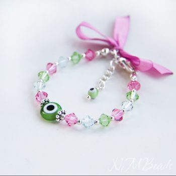 Girls Swarovksi Crystals Beaded Bracelet With Evil Eye Pink And Green Sterling Silver