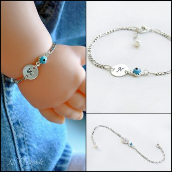 Personalized Children Initial Bracelet With Evil Eye Bead Sterling Silver