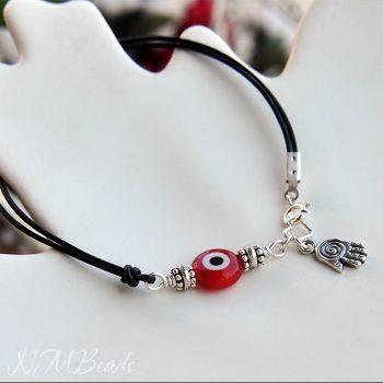 Simple Evil Eye Leather Bracelet With Hamsa Sterling Silver
