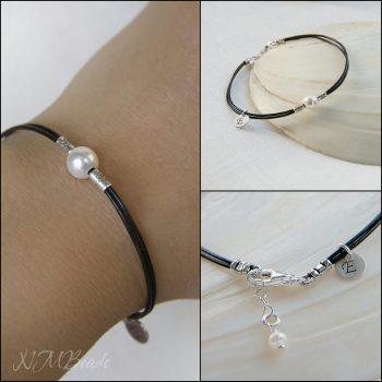 Personalized Single Pearl And Leather Bracelet Initial Disc Charm Sterling Silver