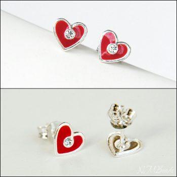 Kırmızı Minik Kalp Küpe – Gümüş
