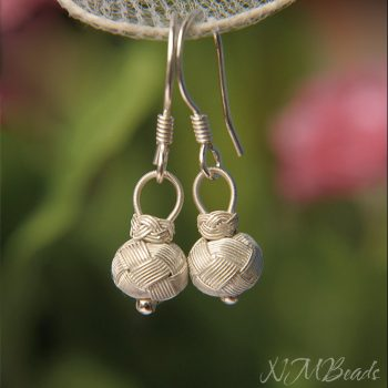 Fine Silver Knotted Tiny Ball Dangle Earrings