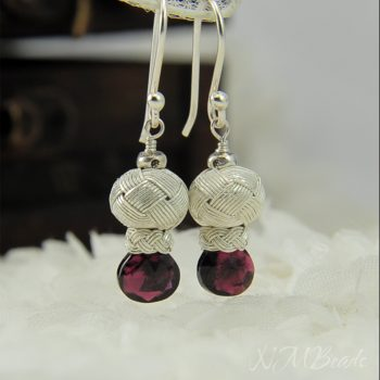 OOAK Tiny Knotted Ball Earrings With Garnet Fine Silver Gemstone Jewelry