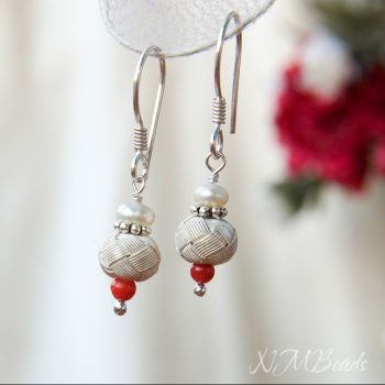 Fine Silver Ball Earrings With Fresh Water Pearls And Red Coral