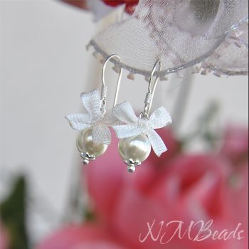 Children White Pearl Earrings With White Or Pink Silk Ribbon Bow Sterling Silver