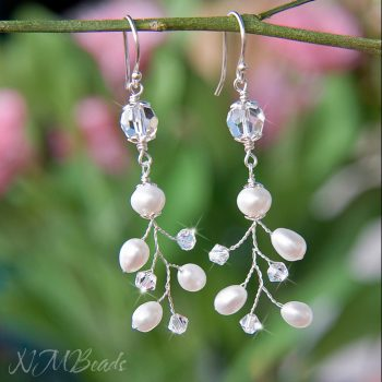 Branch Earrings With Freshwater Pearls And Swarovski Crystals Sterling Silver