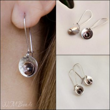 Full Moon Long Disc Earrings Mixed Metal Two Tone Sterling Silver And Copper