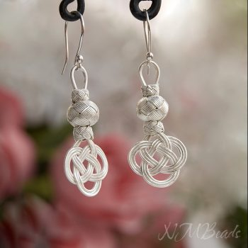 OOAK Fine Silver Celtic Love Knot Earrings With Ball