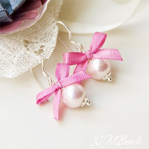 Girls Pale Pink Pearl Earrings With Hot Pink Silk Bow Sterling Silver