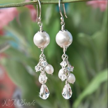 Wedding Freshwater Pearls And Swarovski Crystals Cluster Earrings Sterling Silver