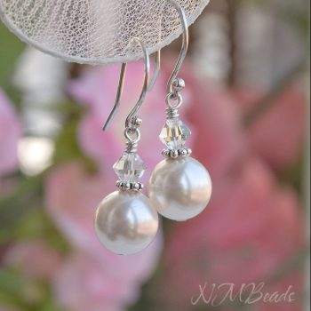 Wedding Bridal Swarovski Pearl Dangle Earrings Sterling Silver