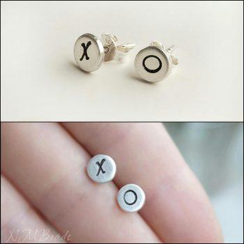 XO Stud Earrings Sterling Silver Organic Handstamped Disc