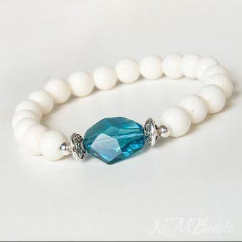 Swarovski Kristalli Beyaz Mercan Doğaltaş Streç Bileklik