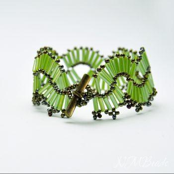 Fıstık Yeşili Boncuk Örme Kelepçe Bileklik