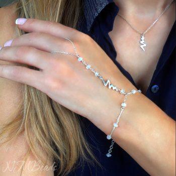 Gümüş Aytaşı Şahmeran Bileklik – Şimşek Figürlü