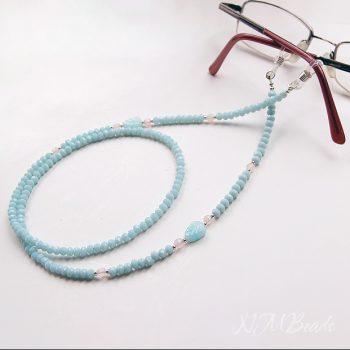 Boncuklu Zarif Şık Kristal Gözlük Zinciri – Uçuk Mavi