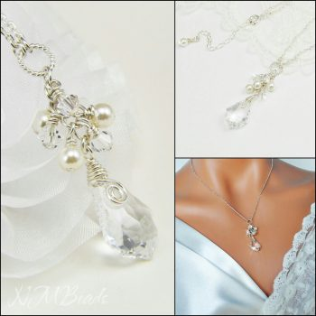 Wedding Bridal Cluster Pendant Necklace With Swarovski Baroque Crystal And Pearls Sterling Silver