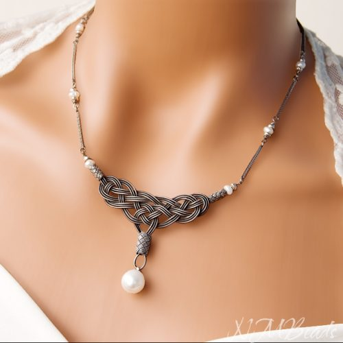 OOAK Fine Silver Celtic Knot Bib Necklace With Fresh Water Pearl