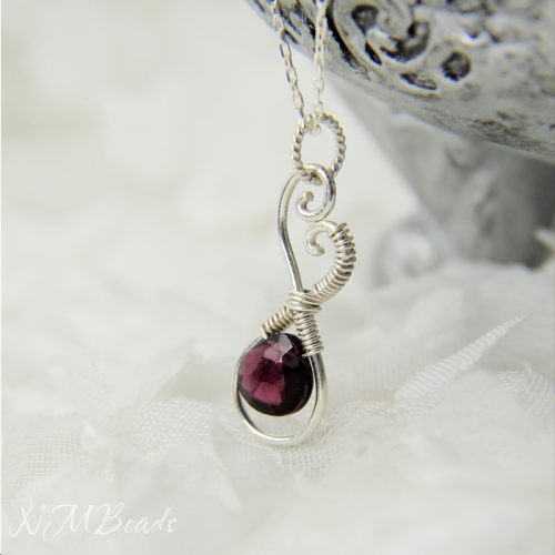 Heart Pendant Garnet Necklace Wire Wrapped Infinity Love Sterling Silver