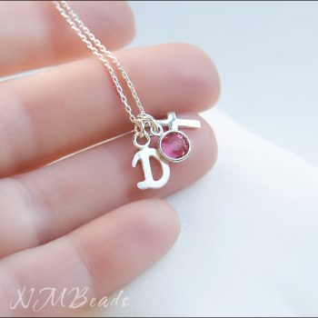 Children Initial Necklace With Cross And Birthstone Swarovski Sterling Silver