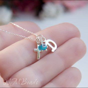 Children Initial Necklace With Cross And Evil Eye Sterling Silver