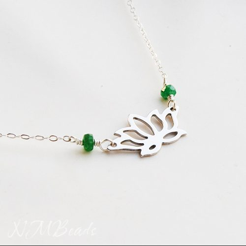 Delicate Lotus Necklace With Emerald Sterling Silver Waterlily