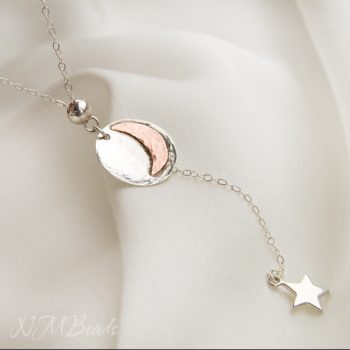 Moon And Star Necklace Y Drop Hammered Disc Two Tone Sterling Silver And Copper