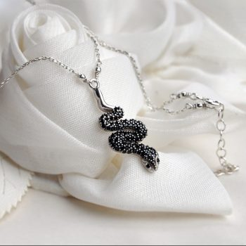 Black Snake Pendant Necklace Zircon Pave Serpent Sterling Silver