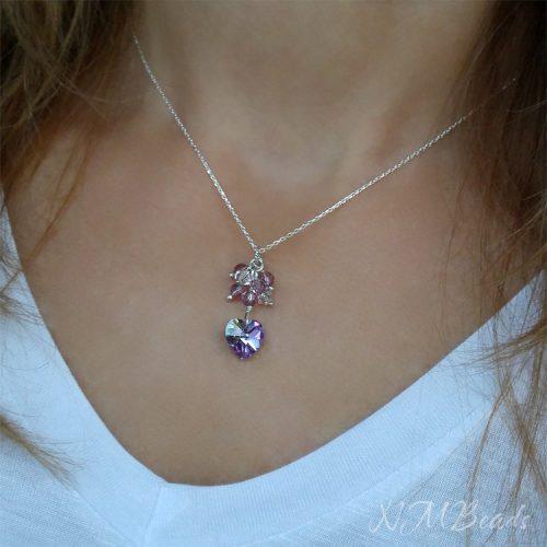 Zarif Swarovski kristalli kalp kolye