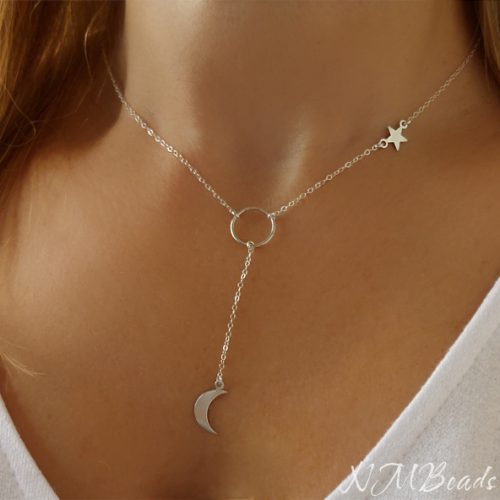 Crescent Moon And Star Delicate Necklace Y Drop Circle Sterling Silver