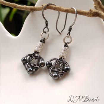 OOAK Fine Silver Celtic Love Knot Earrings