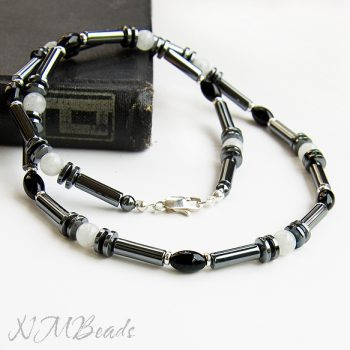 Mens Beaded Choker Necklace Sterling Silver Hematite Moonstone