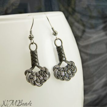 Celtic Love Knot Earrings Oxidized Fine Silver Jewelry