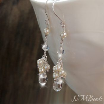 Wedding Pearl And Swarovski Crystal Cluster Earrings Sterling Silver