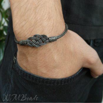 Kazaziye Gümüş Örme Erkek Bileklik – Oksitli