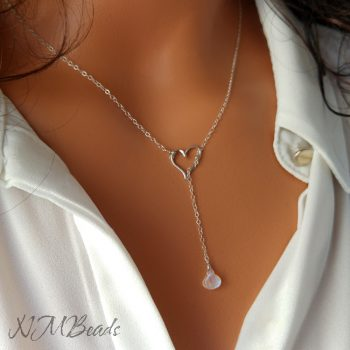 Open Heart Lariat Y Necklace With Moonstone Delicate Sterling Silver