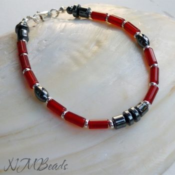 Mens Beaded Bracelet With Red Agate And Hematite Sterling Silver