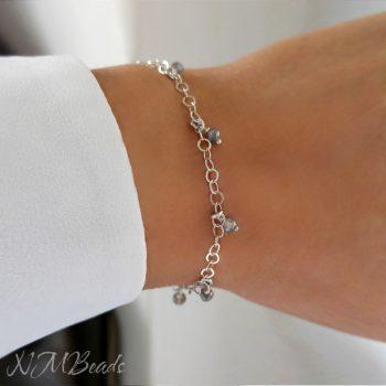 Delicate Labradorite Beaded Chain Bracelet Skinny Simple