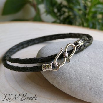 Mens Black Braided Leather Bracelet With S Clasp Sterling Silver