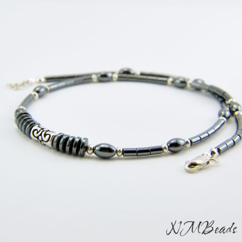 Mens Hematite Choker Beaded Necklace Sterling Silver