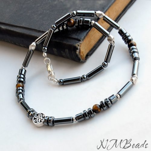 Mens Hematite Beaded Choker Necklace With Celtic Knot Sterling Silver