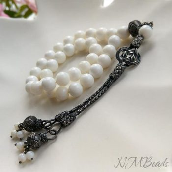 OOAK White Mother of Pearl 33 Prayer Beads With Turkish Tassel