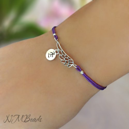 Personalized Angle Wing String Bracelet Sterling Silver Choose Color