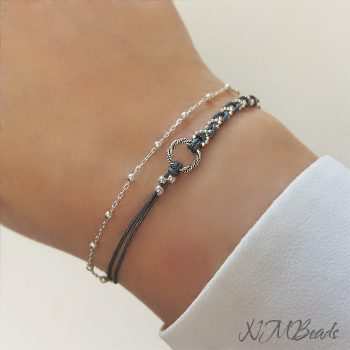 Delicate Braided String And Chain Bracelet With Circle Sterling Silver Layered